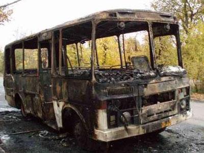 Сгорел автобус Видео