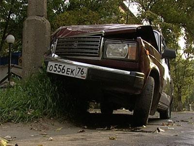 Машина врезалась в столб Видео