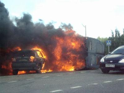 Дорожные аварии закончились пожарами