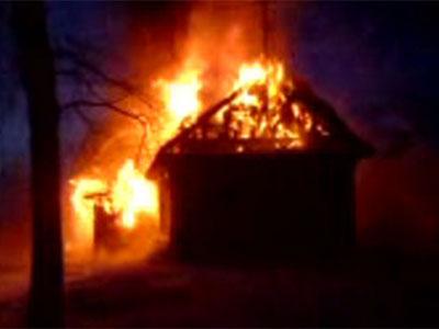 Пожар в деревне Подолино