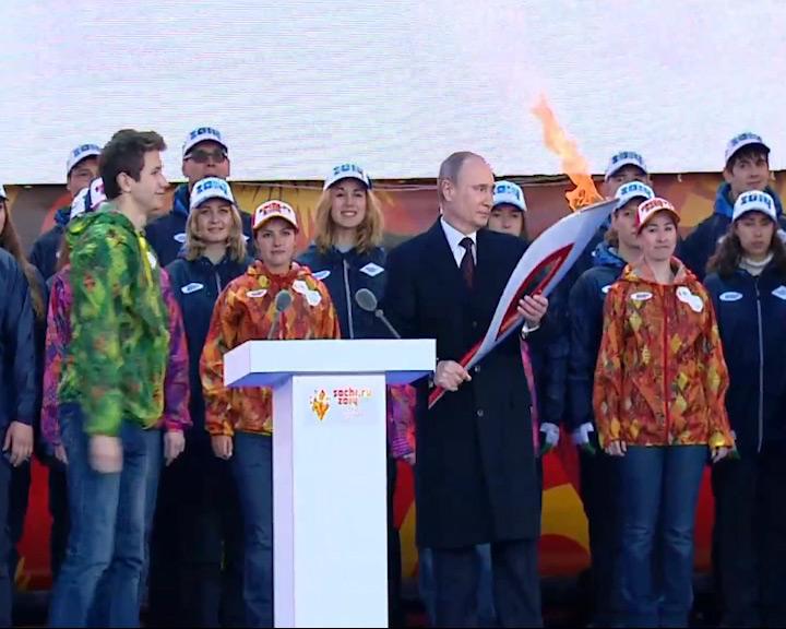 Прямая трансляция эстафеты Олимпифского огня на «Первом Ярославском»
