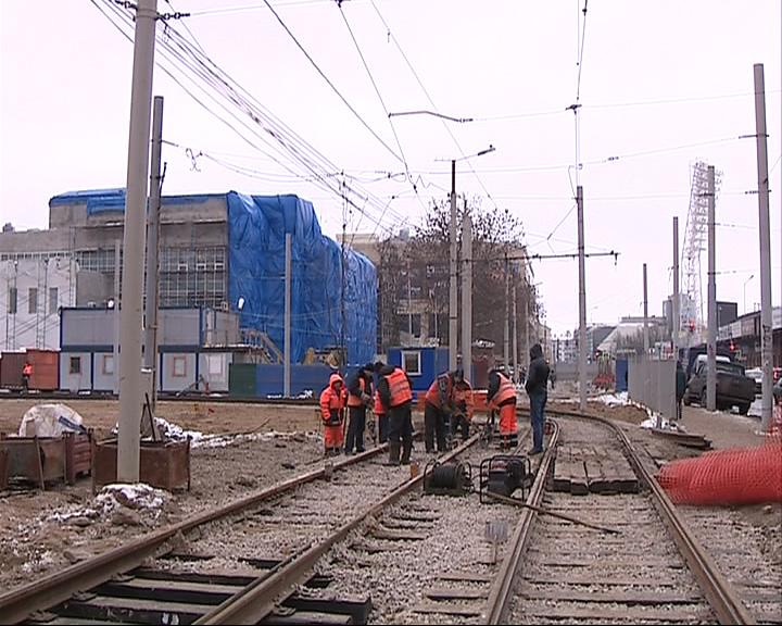 Монтаж трамвайного кольца близок к завершению