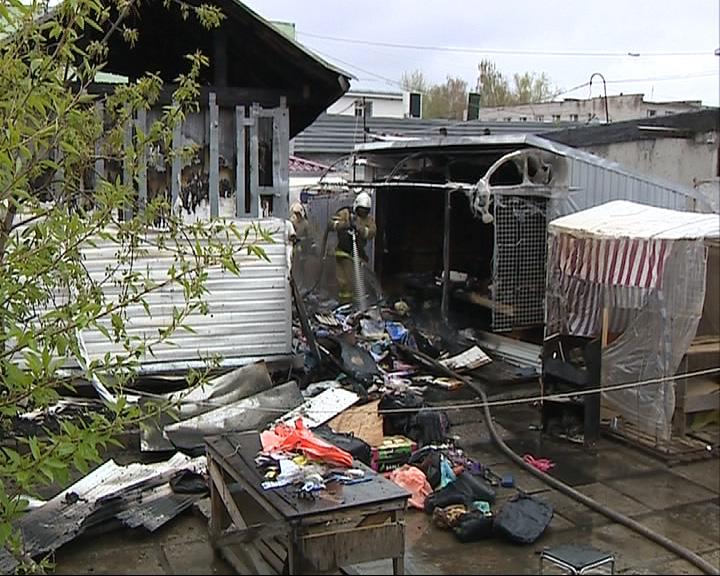 Пожар на рынке в Рыбинске