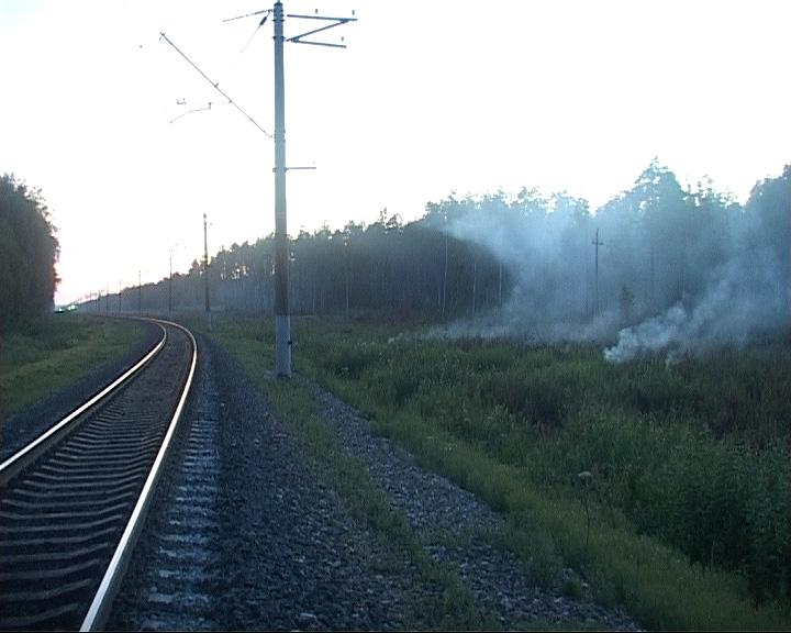 Лесной пожар парализовал железнодорожное сообщение