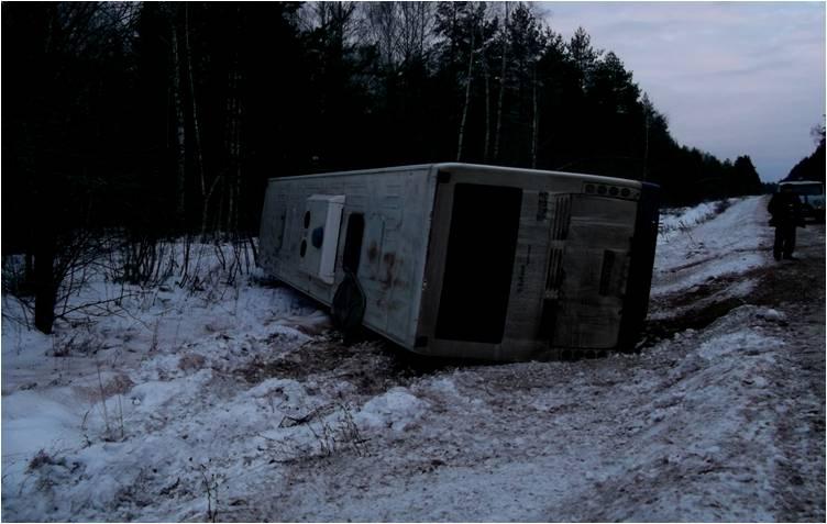 В Борисоглебском районе перевернулся рейсовый автобус с пассажирами