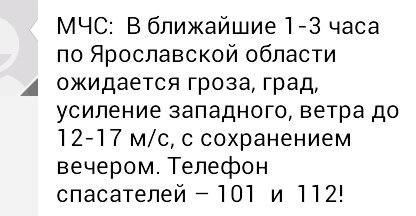 МЧС: В ближайшие часы в Ярославской области ожидается гроза и град