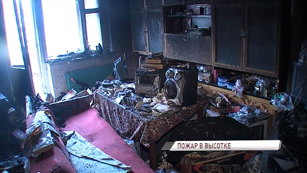 Серьезный пожар Заволгой: горела квартира на седьмом этаже высотки