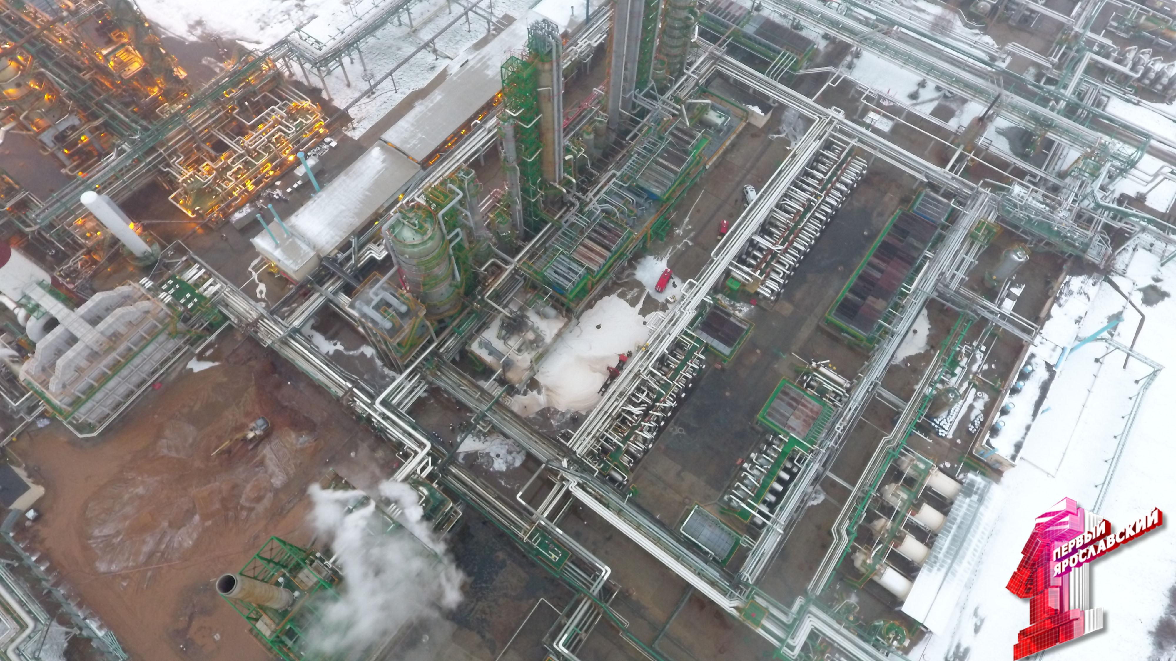«Первый Ярославский» публикует фото с «дрона» над местом пожара на ярославском НПЗ