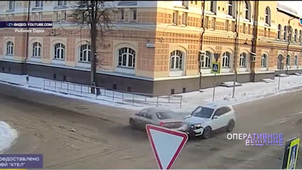 В Рыбинске на перекрестке улиц Чкалова и Пушкина не разъехались две иномарки