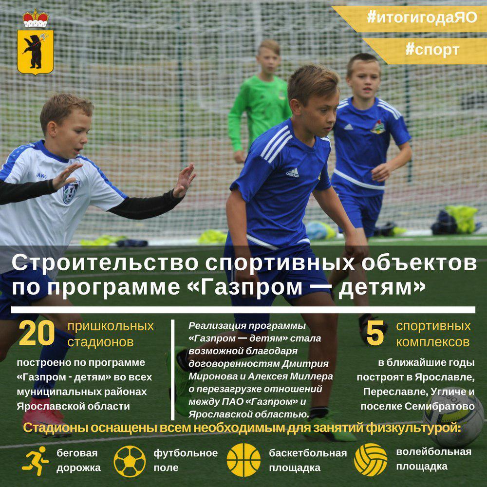 В Ярославской области в этом году построили 20 стадионов