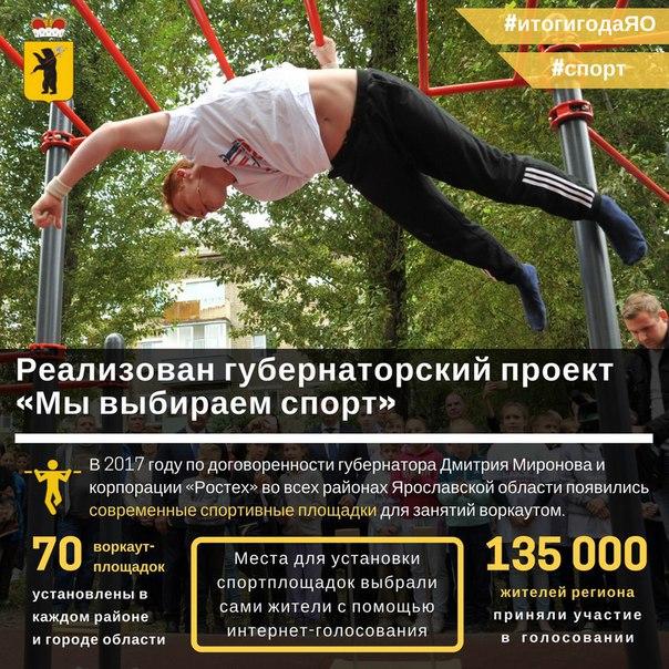 «Мы выбираем спорт»: 70 современных площадок для воркаута появились в Ярославле