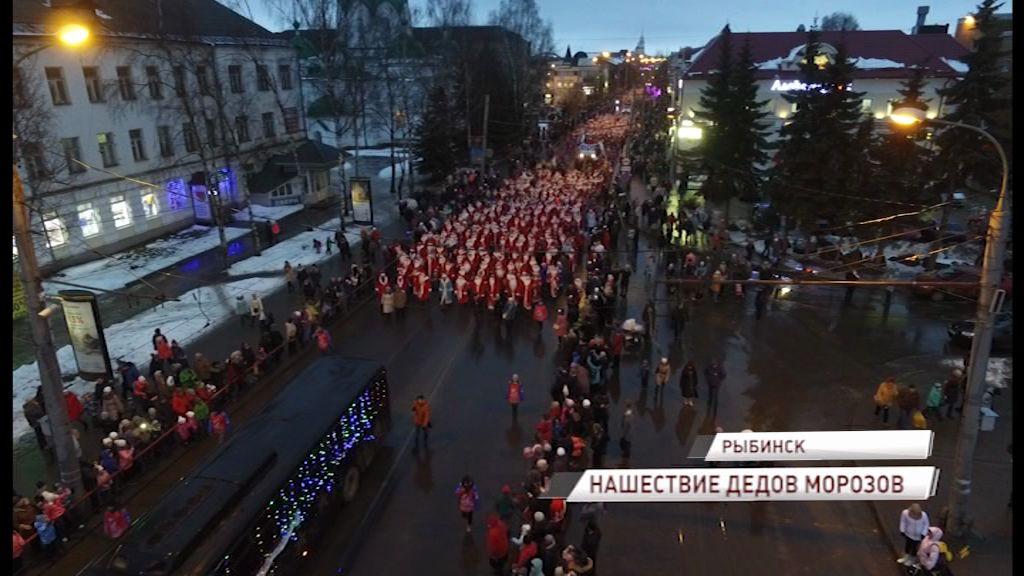 Сотни Дедов Морозов прошлись по Рыбинску