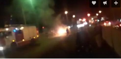 В Брагине на перекрестке загорелась иномарка
