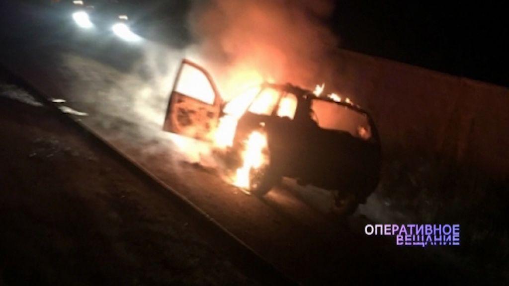 В Рыбинске полностью выгорела легковушка