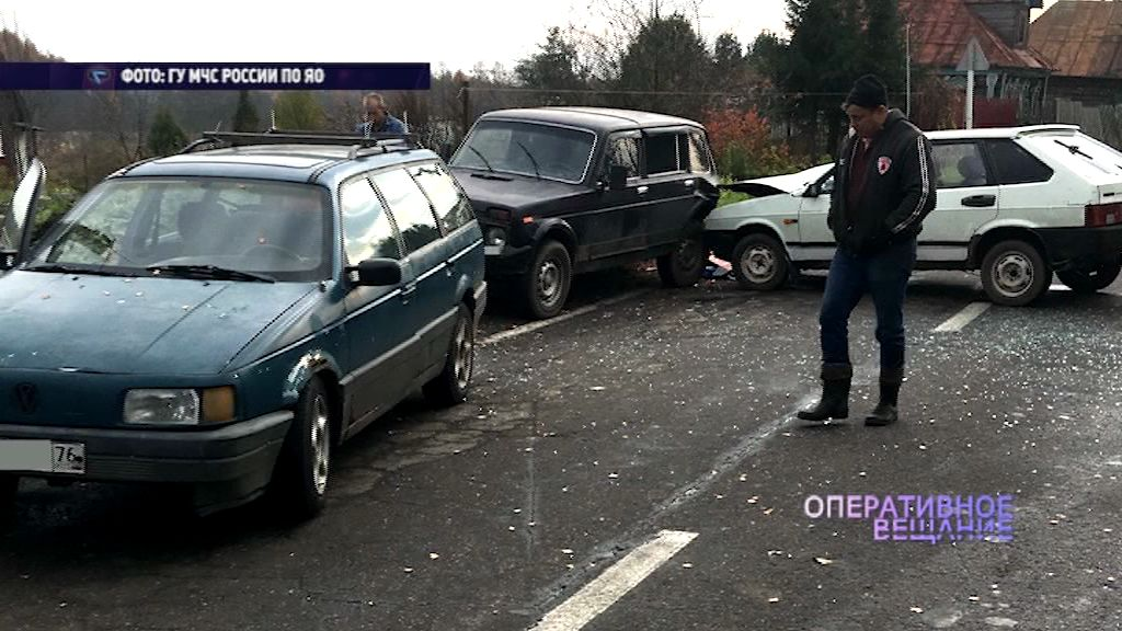 Сразу три автомобиля не разъехались в Рыбинском районе