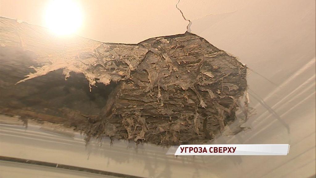 В одном из ярославских домов рухнул потолок: на головы жителей падает штукатурка