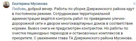Глава Дзержинского района: Вывоз снега из дворов не предусмотрен контрактом