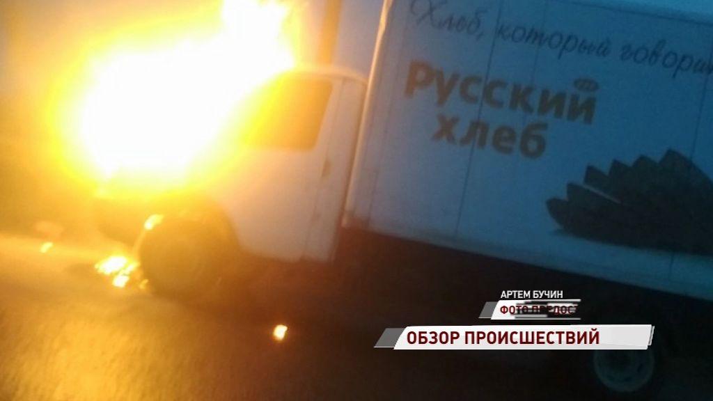 У Суринского вспыхнул фургон с хлебом