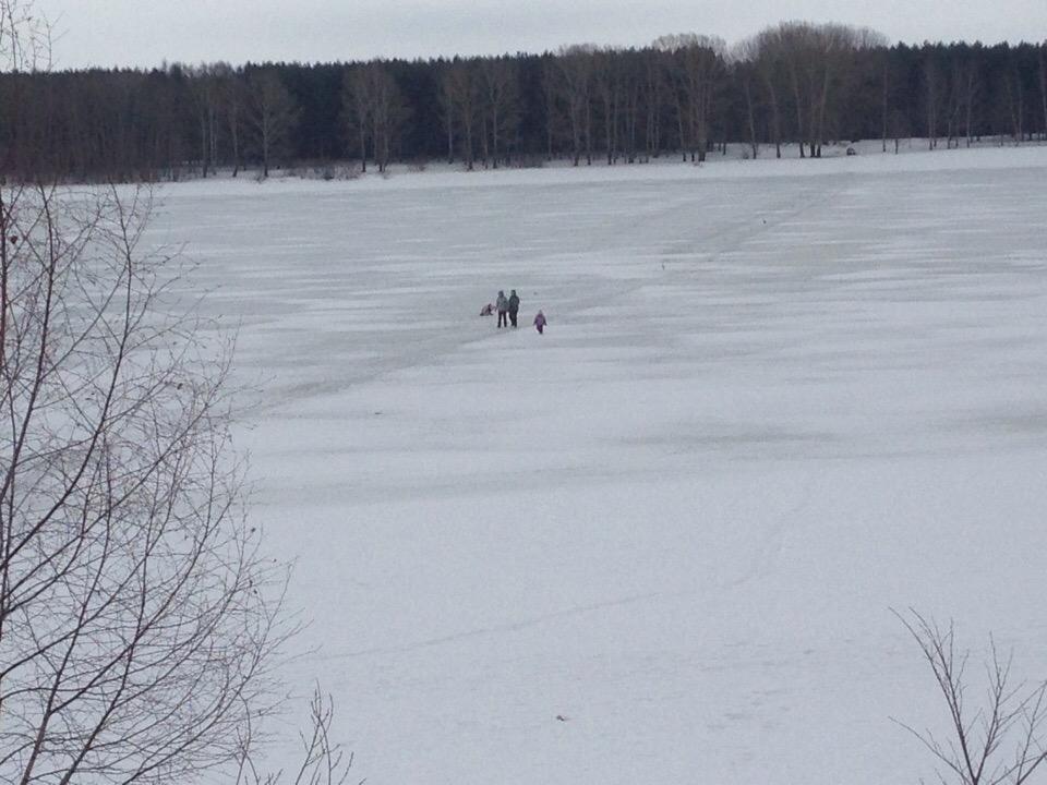 Две женщины с детьми пытались перейти Волгу по тонкому льду