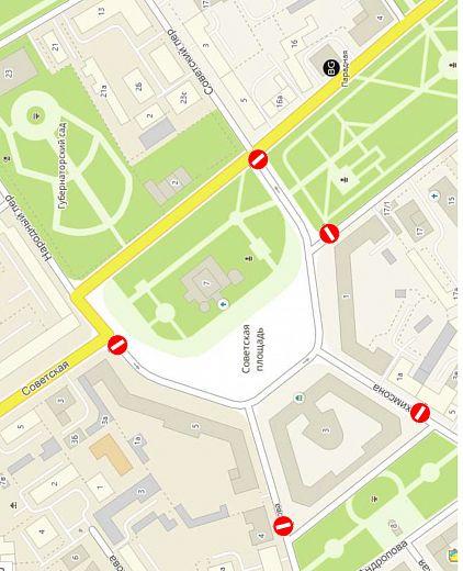 На время хоккейного матча на Советской площади в центре перекроют несколько улиц