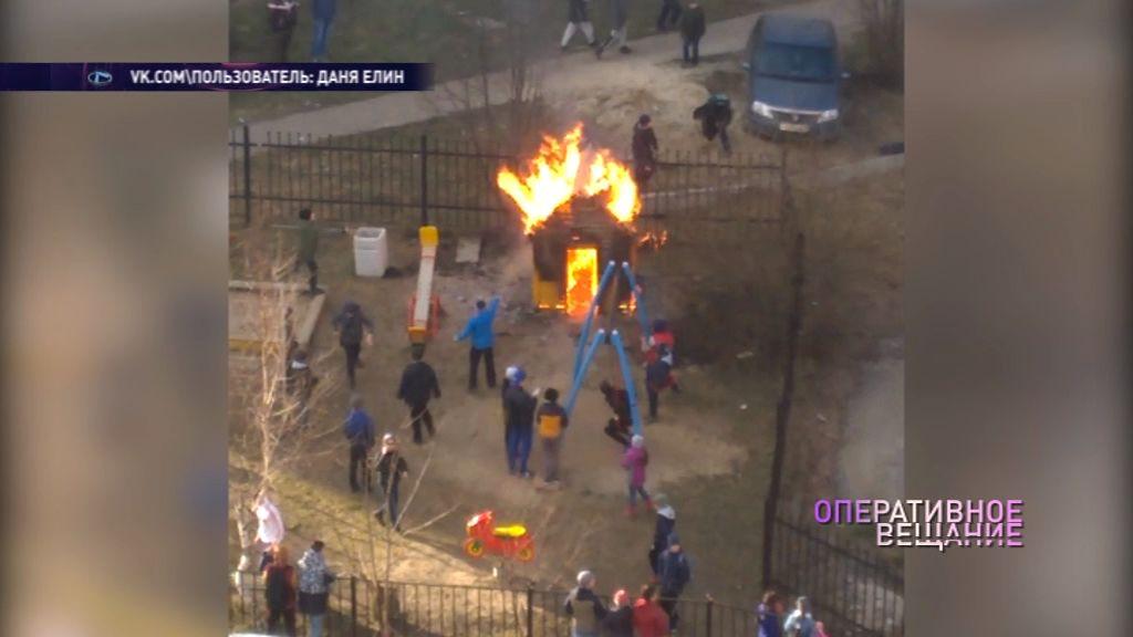 В Брагине подросток устроил пожар на детской площадке