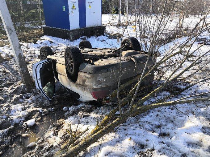 В Ярославском районе иномарка вылетела в кювет