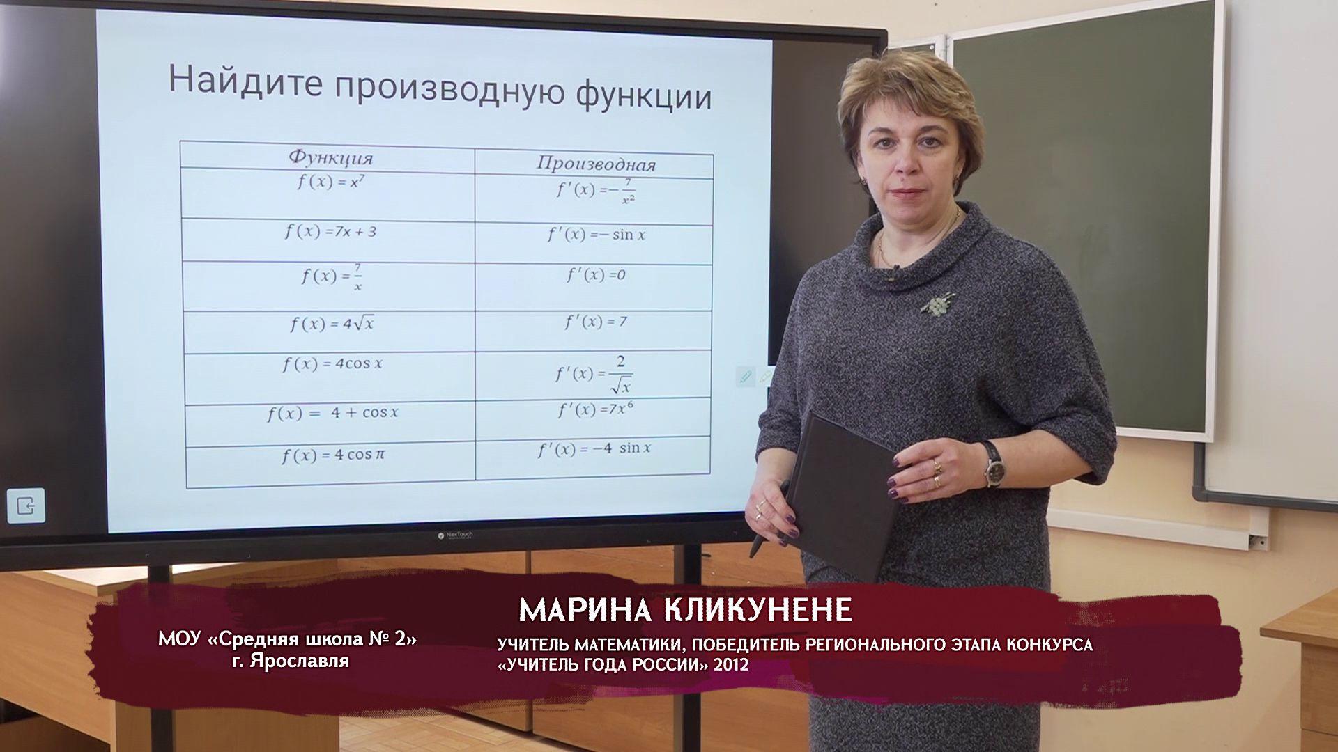 Телеуроки. Марина Кликунене. «Применение производной в исследовании функций на монотонность»