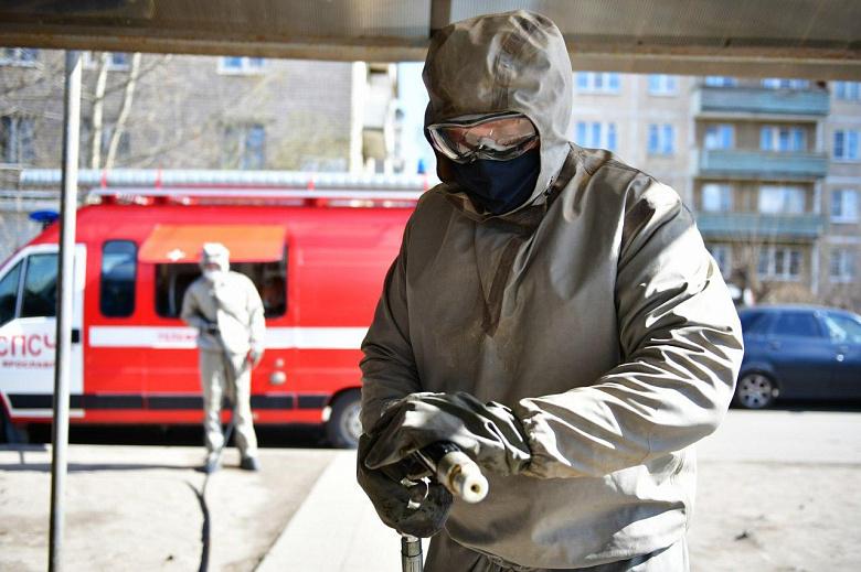 В Ярославле дезинфицируют пешеходные переходы