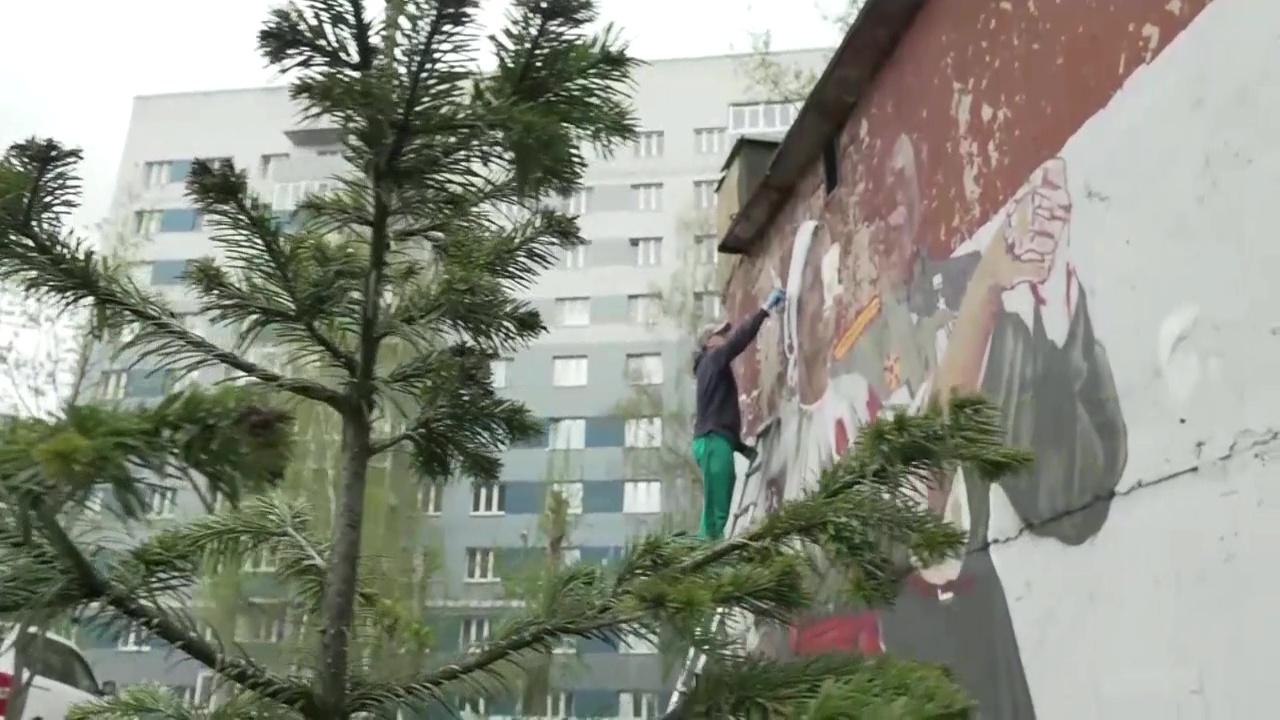 Улицы Ярославля украшают граффити, посвященными Дню Победы