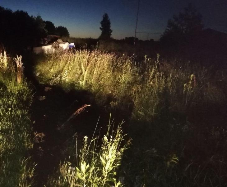 На трассе в Рыбинском районе опрокинулась иномарка