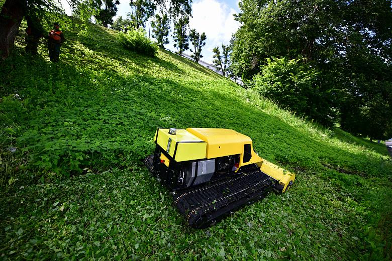 В Ярославле борются с травой с помощью самоходной косилки