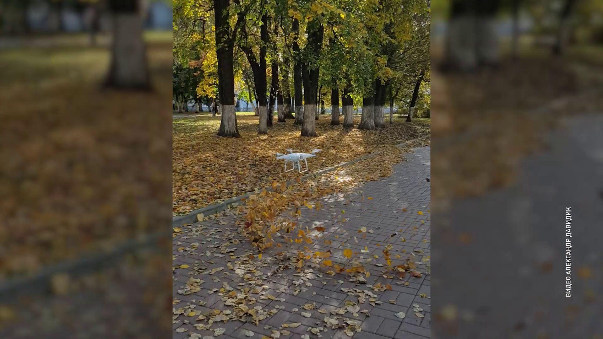 В Ярославле квадрокоптер убирает листья
