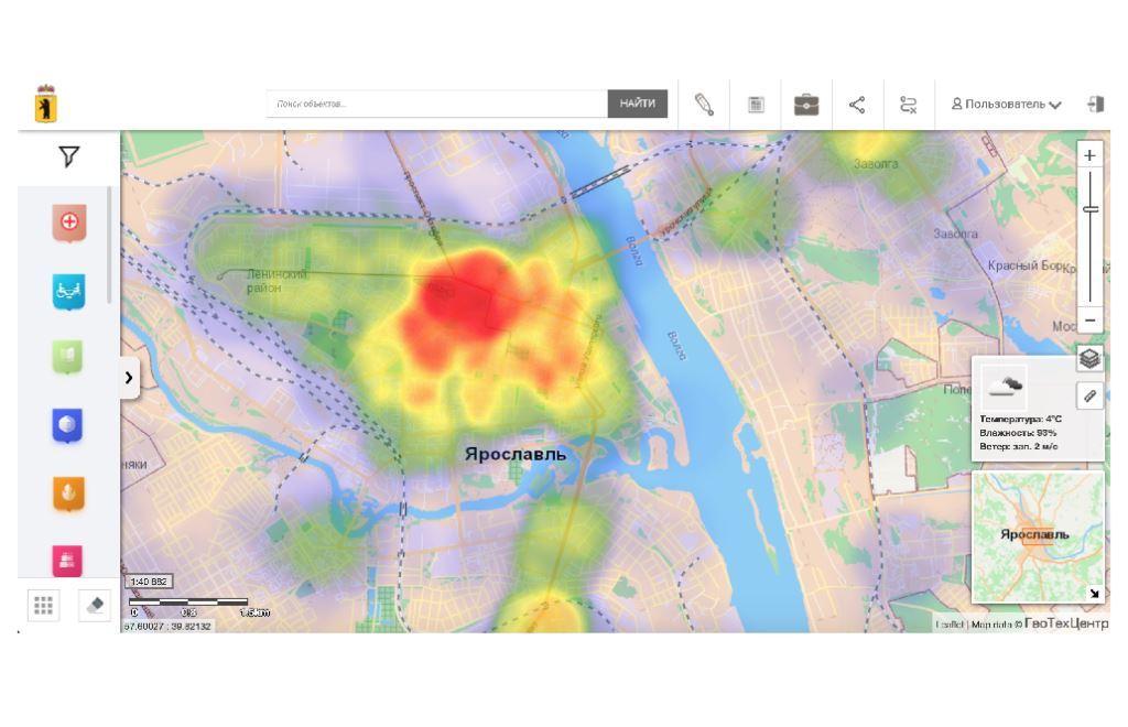 Наиболее безопасные участки дорог и места концентрации ДТП в Ярославской области отметили на Геопортале