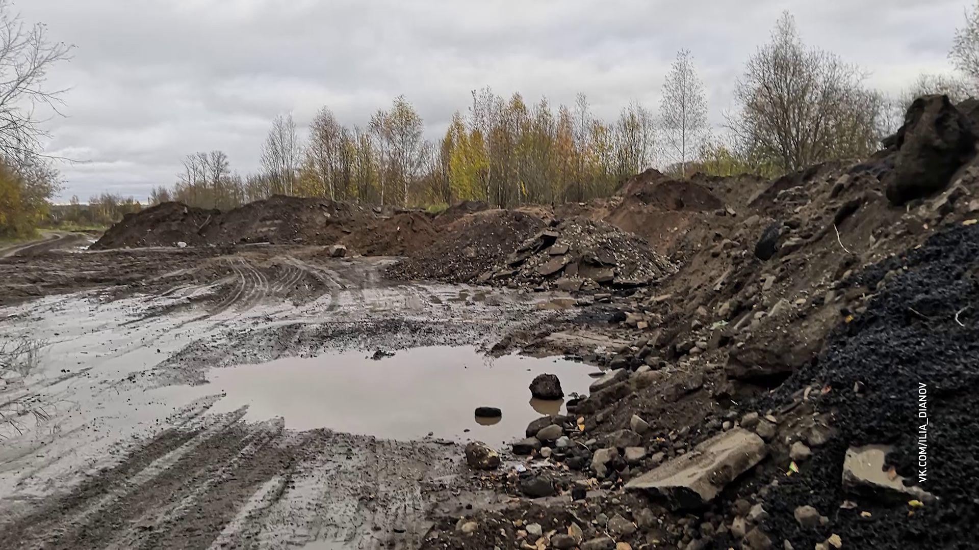 На берегу Волги появилась свалка дорожностроительных отходов