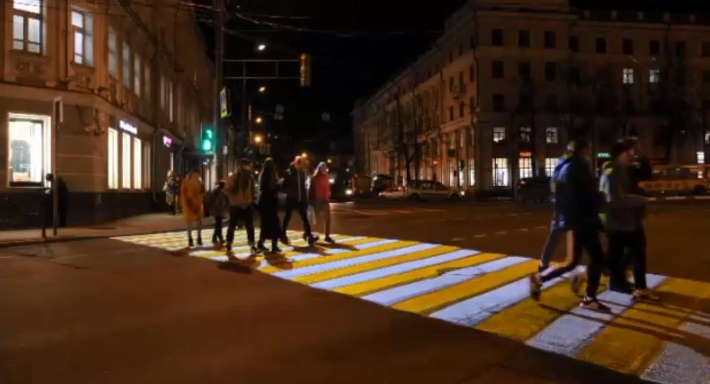 Первая проекционная «зебра» появилась в центре Ярославля