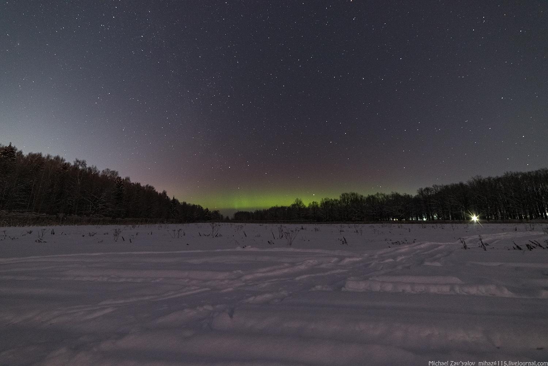 Небо над Ярославлем озарило северное сияние