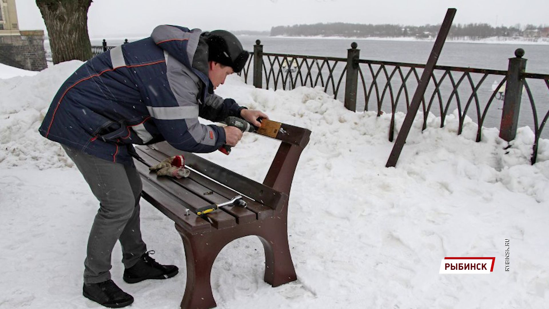 В Рыбинске поставили первую в городе экоскамью
