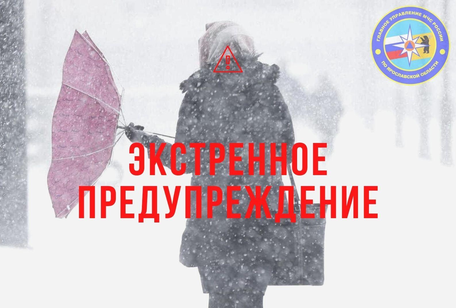 МЧС по Ярославской области опубликовало экстренное предупреждение о сильном снегопаде
