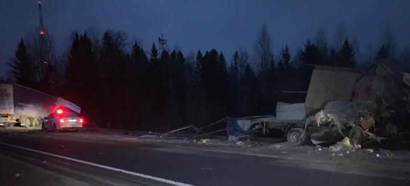 При столкновении грузовиков на трассе в Ярославской области пострадал мужчина