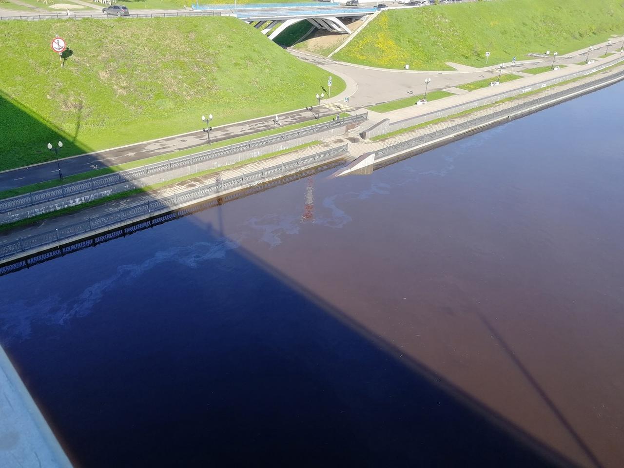 Пользователи соцсетей публикуют фото нефтяных пятен на Волге в черте Ярославля