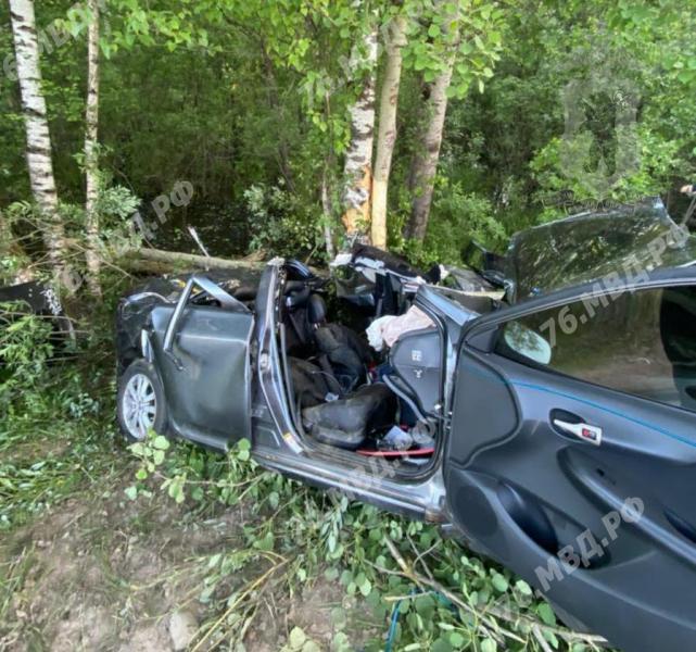 В Ярославской области девушка на «Тойоте» врезалась в дерево: четверо пострадавших