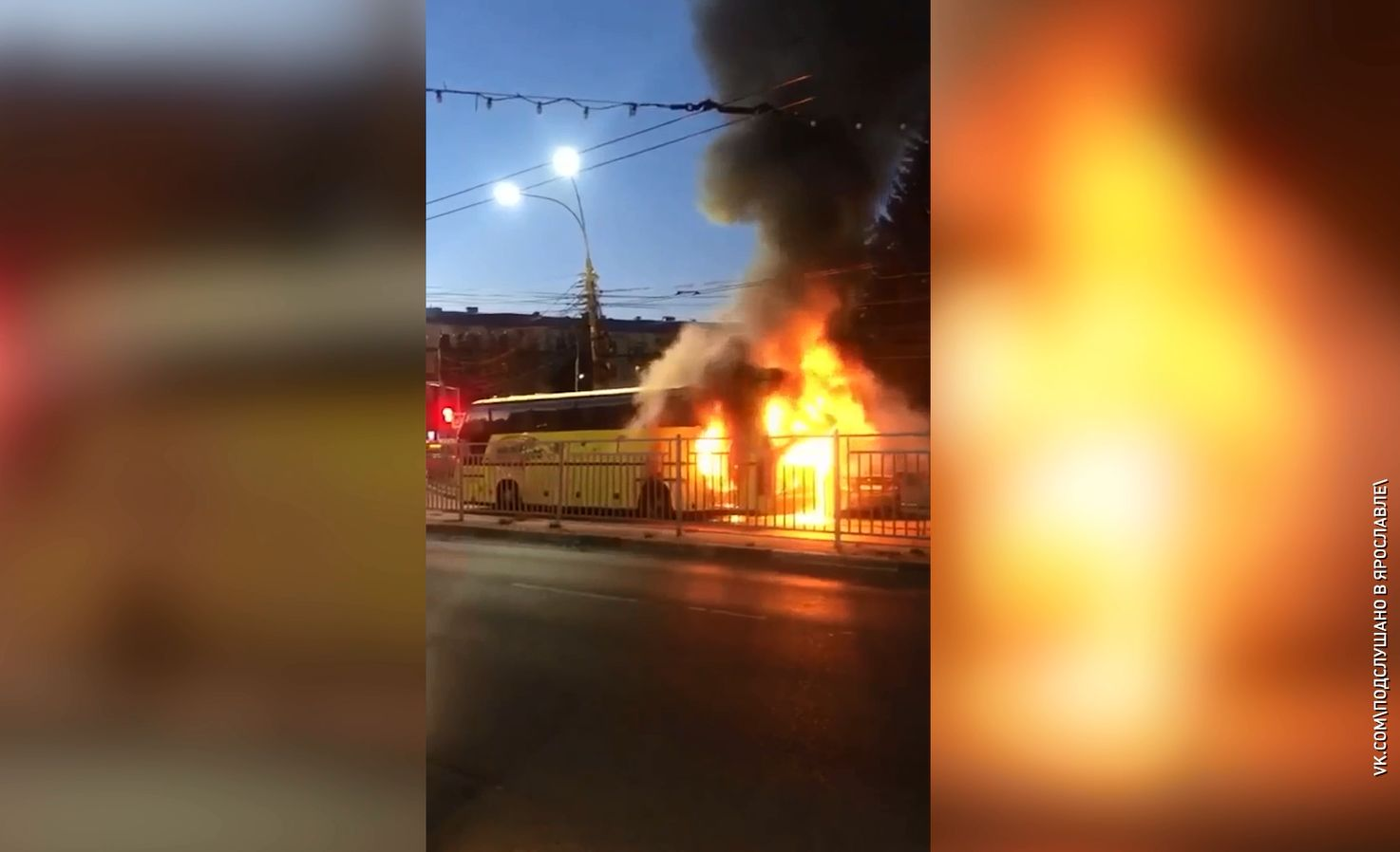 На одном из оживленных перекрестков Ярославля в час пик загорелся автобус
